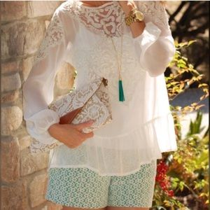 Anthropologie Shorts - Anthropologie Cartonnier Rose Point Lace Shorts